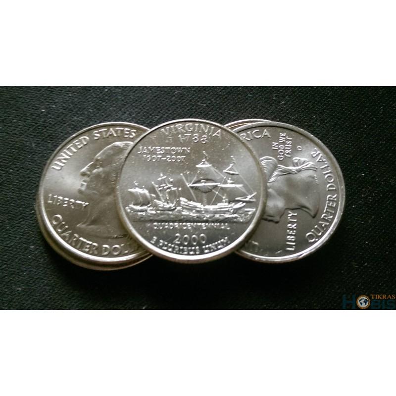 JAV 25 centai, 2000 Virginia UNC KM#309