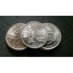 JAV 25 centai, 2000 Massachusetts UNC KM#305