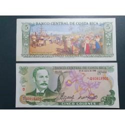 Kosta Rika 5 Colones, 1990...