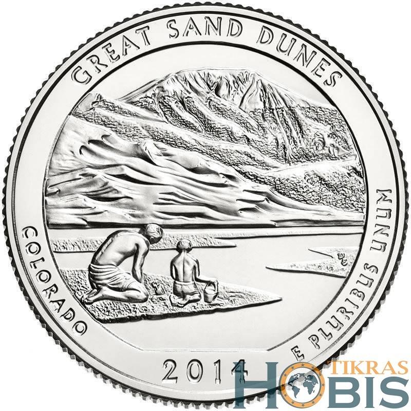 JAV 25 centai, 2014 Great Sand Dunes, Colorado