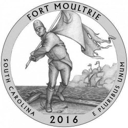 JAV 25 centai, 2016 Fort Moultrie, South Carolina
