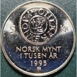 Norvegija 5 kronos, 1995 monetų tūkstantmetis KM456