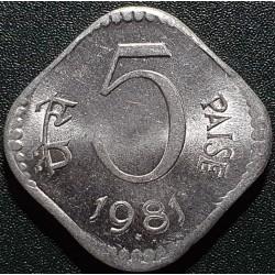 Indija 5 paisos, 1981 KM18.6