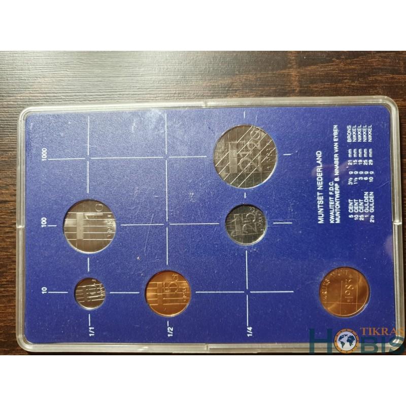 Nyderlandų guldenai ir centai 1983 metų - 5 vnt rinkinys