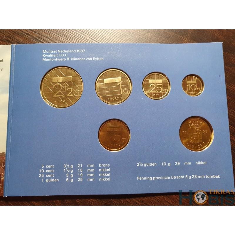 Nyderlandų guldenai ir centai 1987 metų - 5 vnt rinkinys
