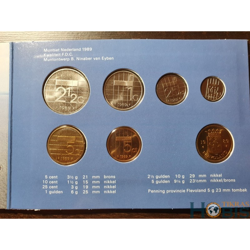 Nyderlandų guldenai ir centai 1989 metų - 6 vnt rinkinys