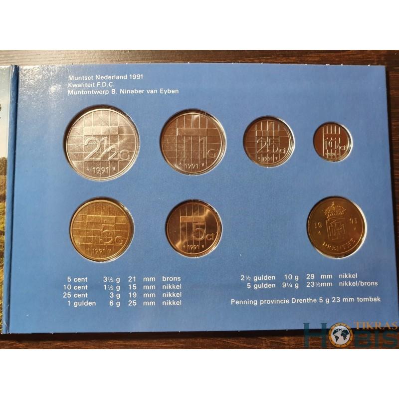 Nyderlandų guldenai ir centai 1991 metų - 6 vnt rinkinys