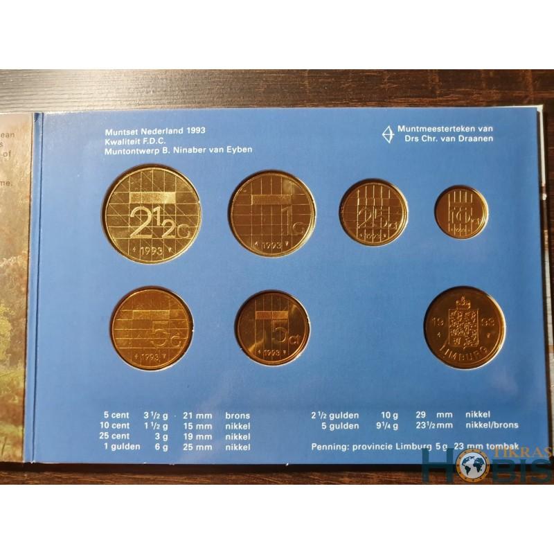 Nyderlandų guldenai ir centai 1992 metų - 6 vnt rinkinys