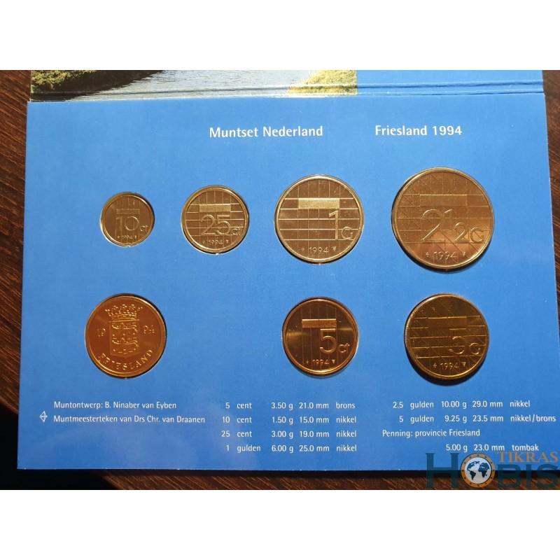 Nyderlandų guldenai ir centai 1994 metų - 6 vnt rinkinys