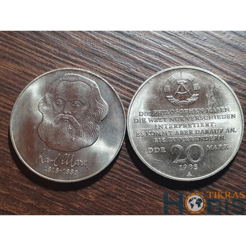 Vokietija - VDR 20 markių, 1983 100th Karl Marx