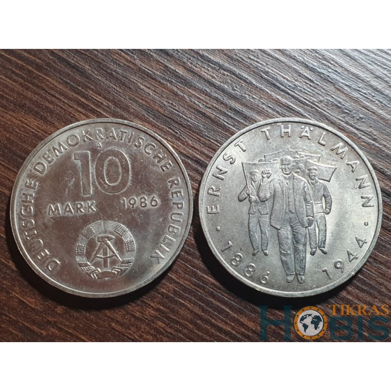 Vokietija - VDR 10 markių, 1986 100th Ernst Thalmann