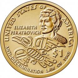 JAV 1 doleris, 2020 Indėnai Elizabeth Peratrovich