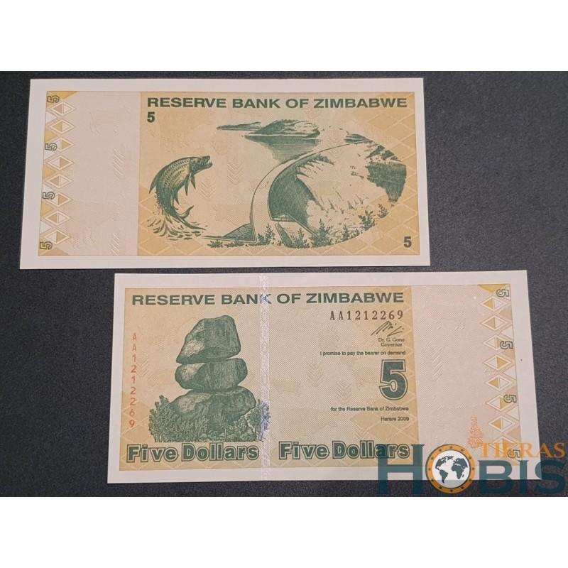 Zimbabvė 5 Dollars, 2009 P-93