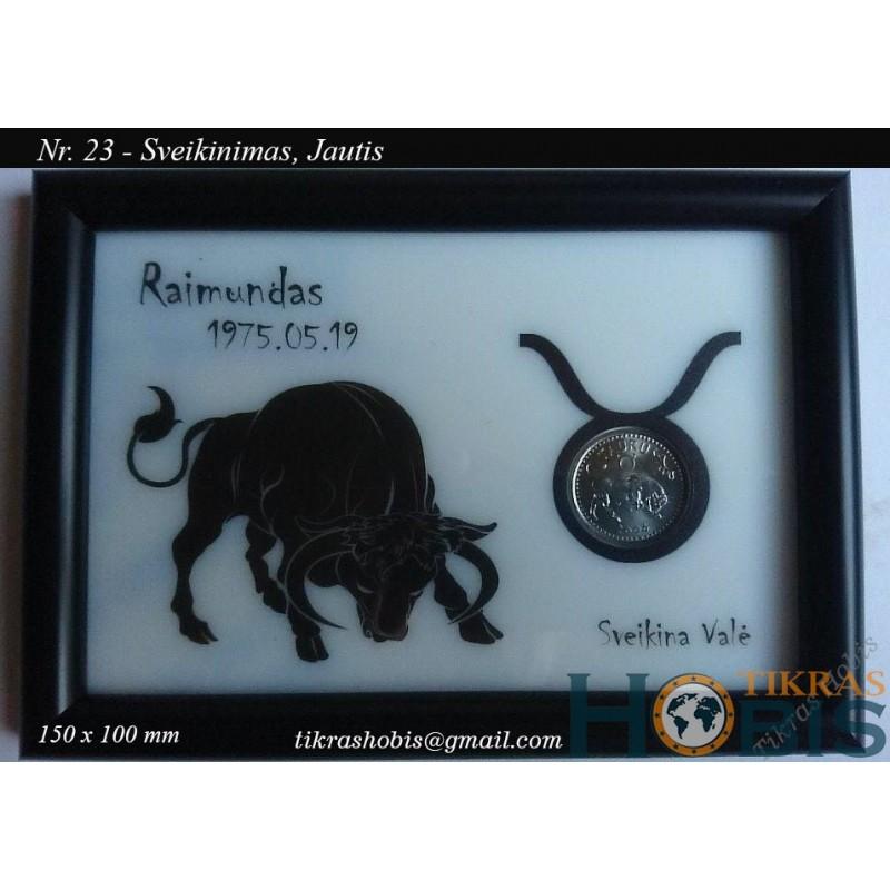 Rėmelis Sveikinimas su moneta Nr. 23 - Jautis