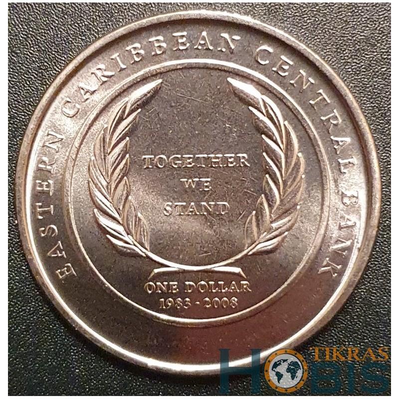 Rytų Karibų 1 doleris, 2008 25th Central Bank