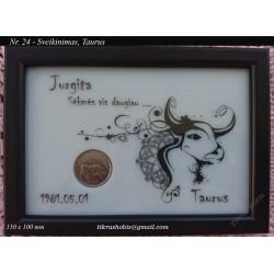 Rėmelis Sveikinimas su moneta Nr. 24 - Taurus
