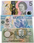 Banknotes from Australia and the Oceania Islands. Banknote store